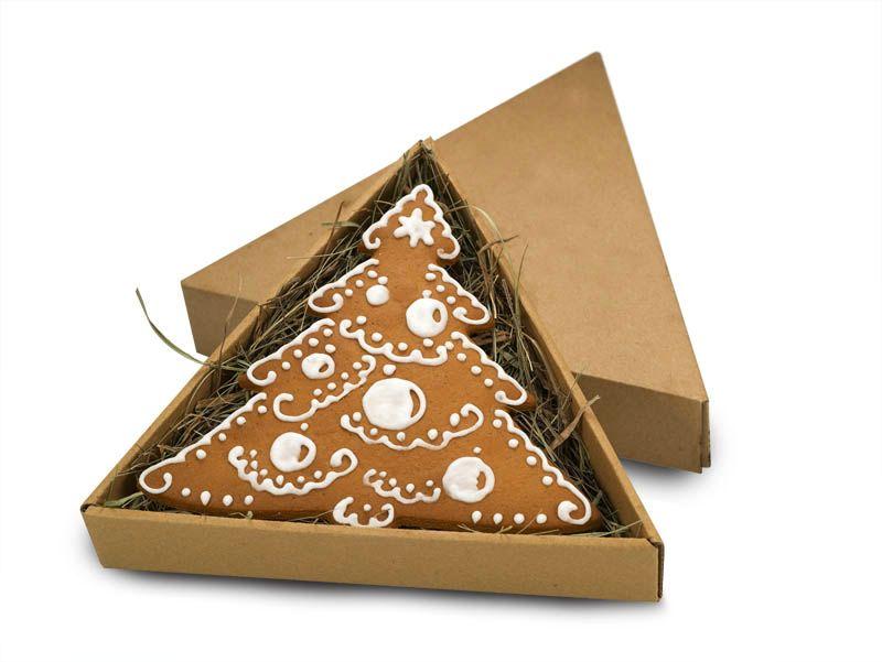Piernik - choinka w trójkątnym pudełku - prezent