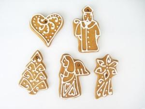 Zestaw 5 kształtów pierników świątecznych: choinka, mikołaj, kometa, anioł, serce